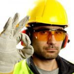 worker in hard hat, gloves and safety glasses