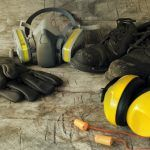 various types of ppe personal protective equipment: gloves, shoes, ear protection
