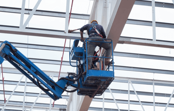 boom lift nearing roof