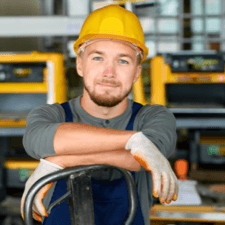 man with safety hard hat