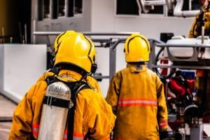fighting fire in dangerous chemicals workplace