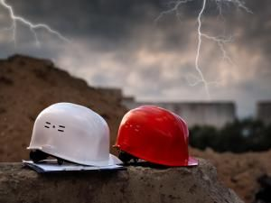 lightning strikes nearby as storm approaches work site