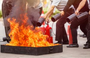 fire safety training with extinguishers