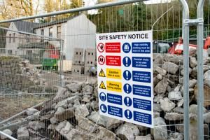 safety signs at demolition site