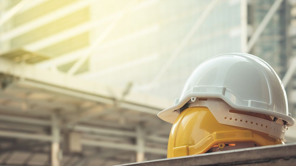 hard hats at construction site
