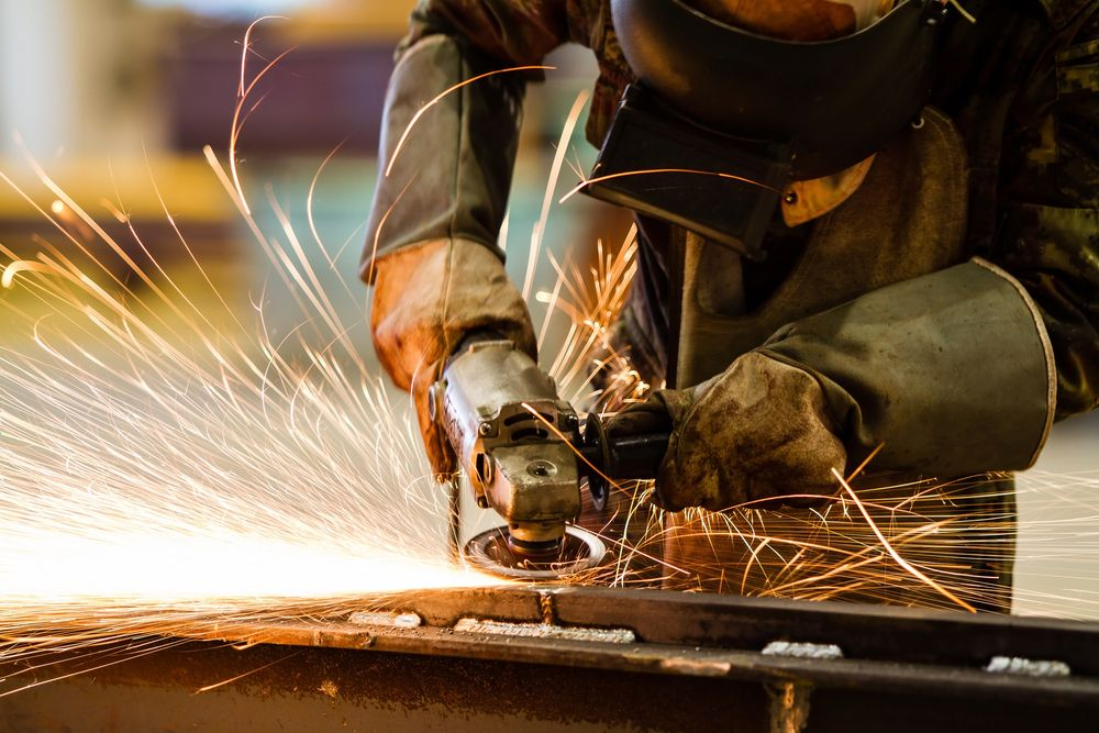 welding sparks flying in workplace