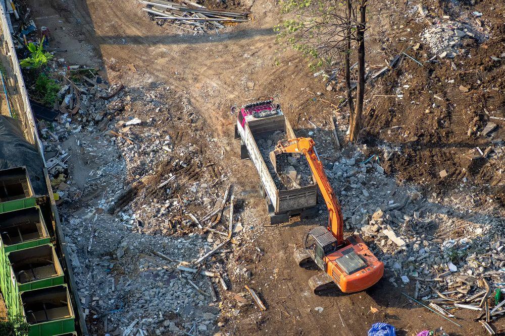 potential hazard falling debris at construction site