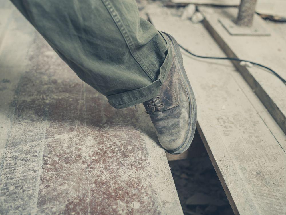 tripping safety hazard in workplace