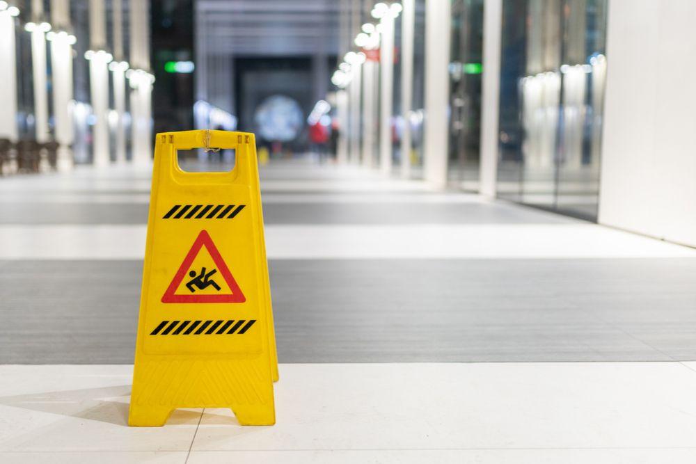 wet floor sign in an office