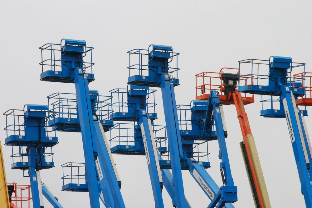 aerial lifts on display