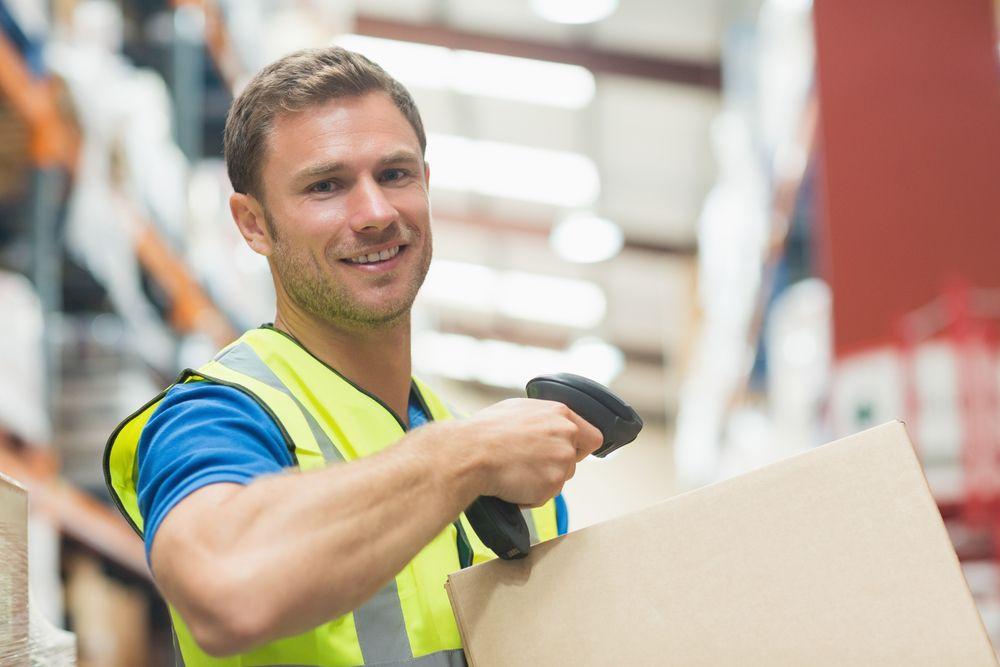happy man working at warehouse