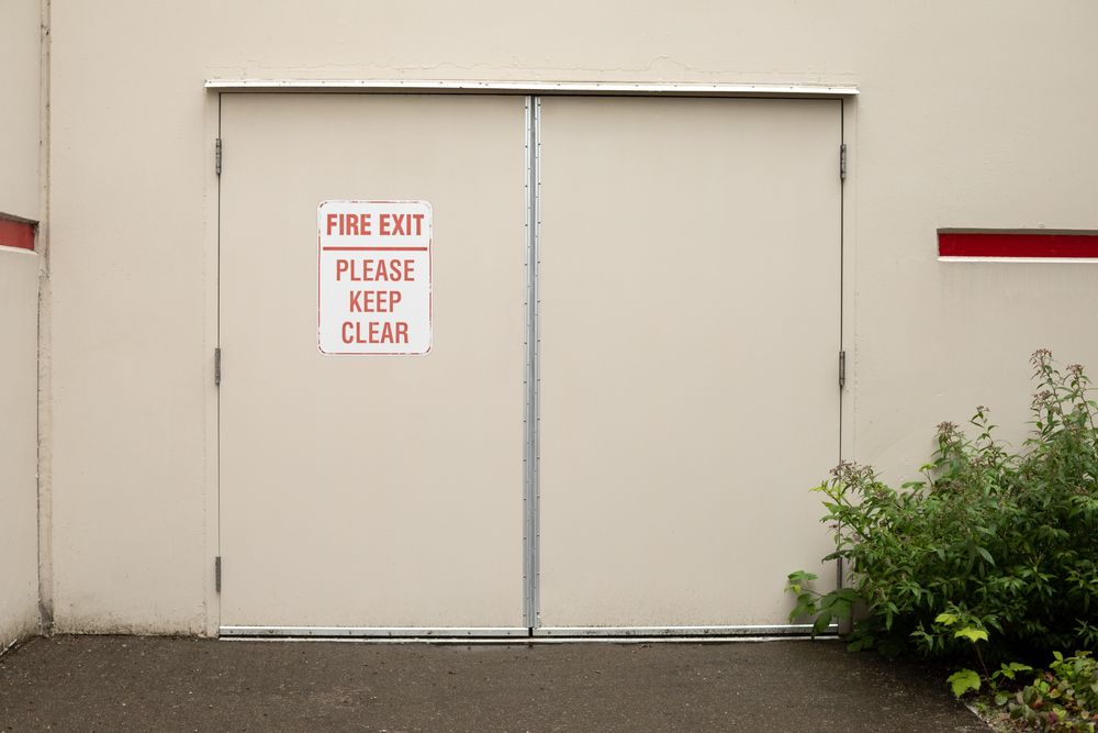 fire exit door outside of a warehouse