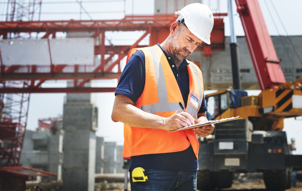 a worker going through the safety checklist