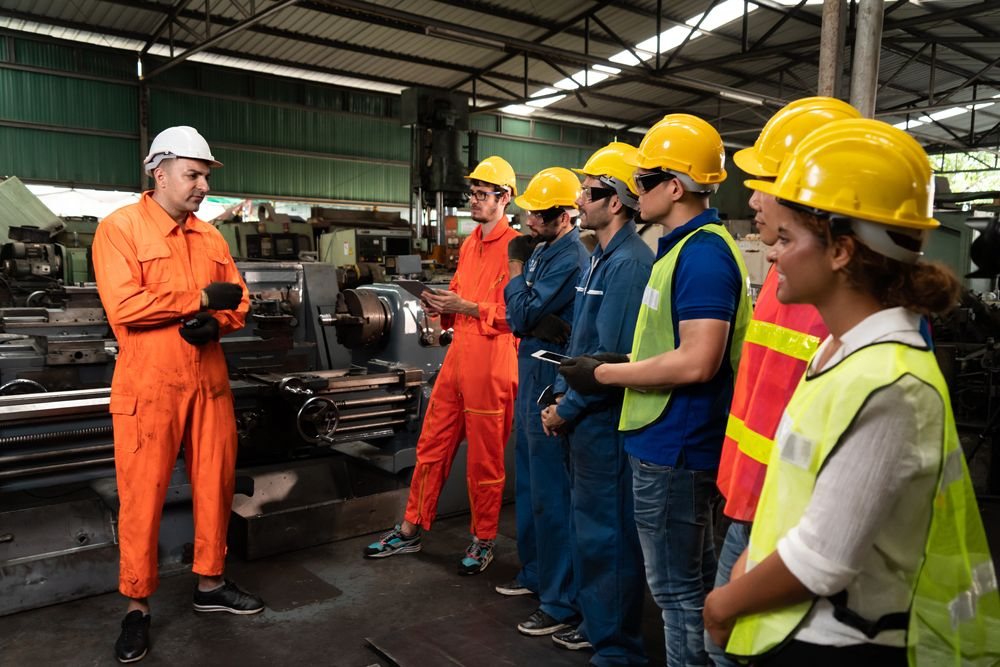 workplace safety training program with employees and an instructor
