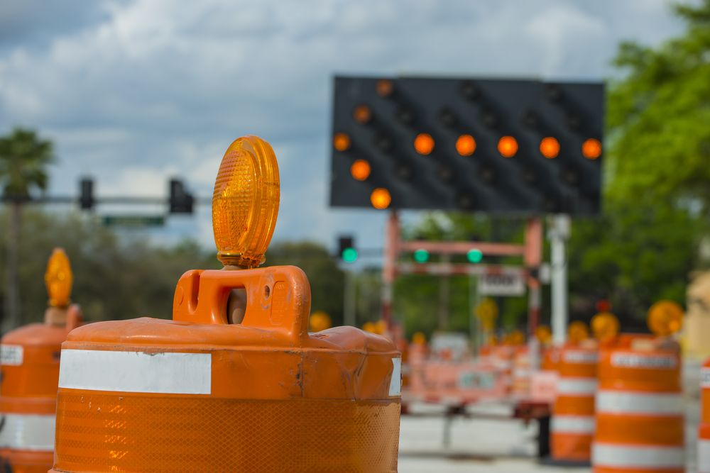 pylons and proper signage for construction on a road way