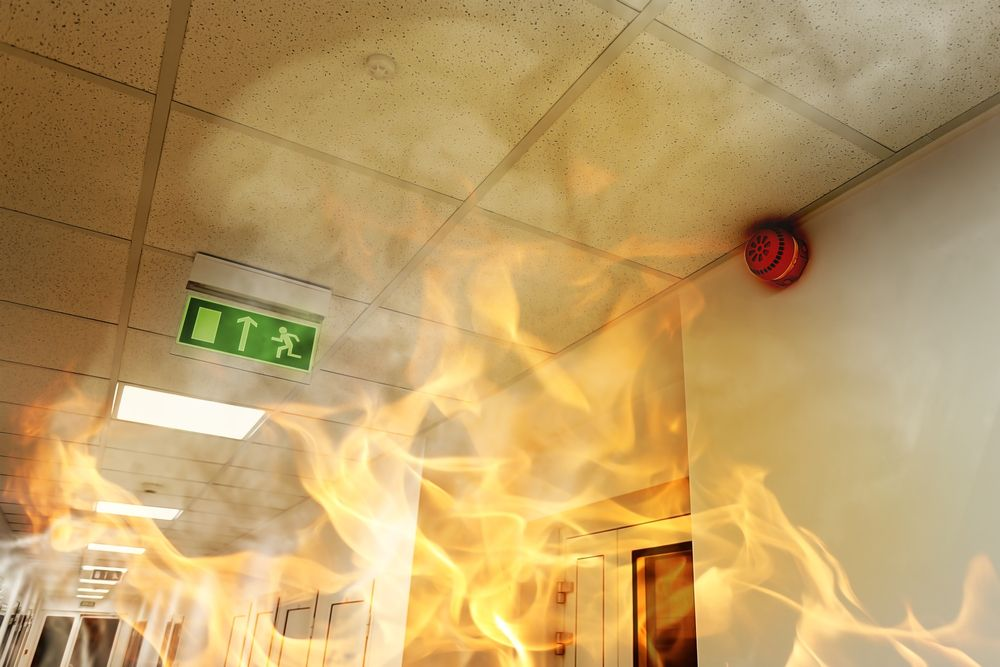 fire in the hallway of a workplace